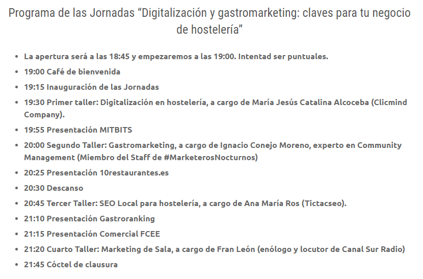 Programa Digitalización y GastroMarketing