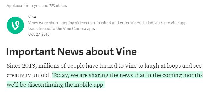 Vine anuncia su desaparición en noviembre-16